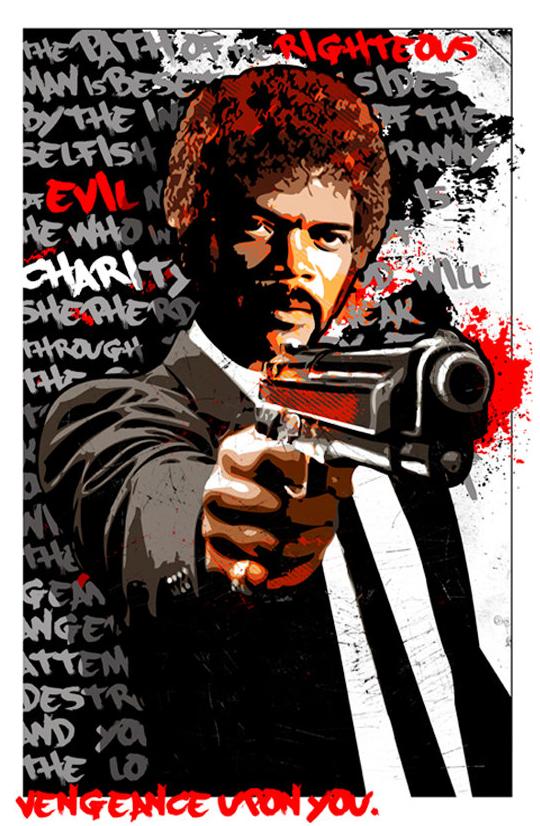 Pulp Fiction Poster Featuring Jules Winnfield And His Ezekiel 25 17 Speech Gangstermovie Gangsterflick Pulp Fiction Art Movie Art Pulp Fiction