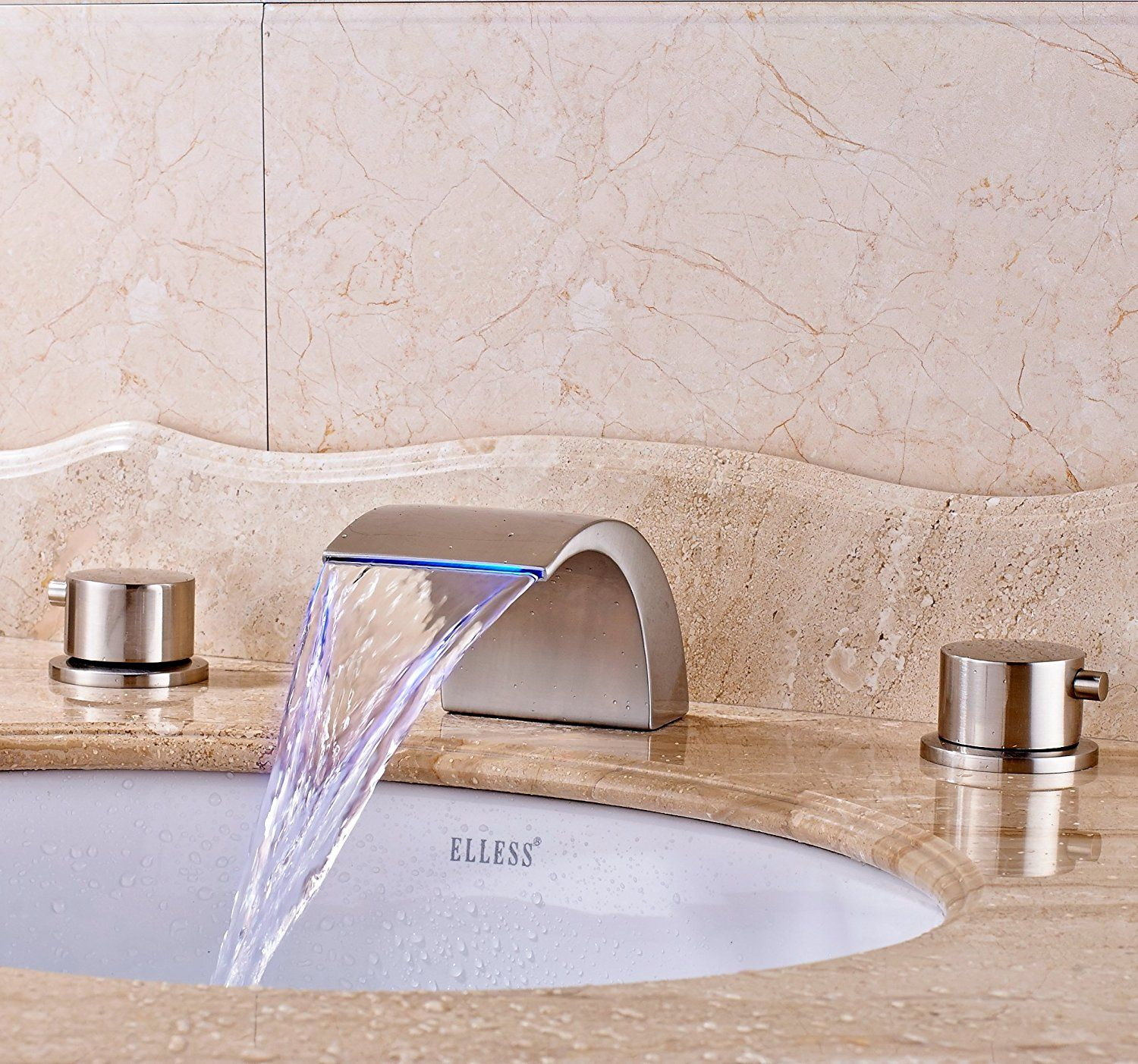 Senlesen Widespread LED Bathroom Waterfall Basin Faucet Dual Handle ...