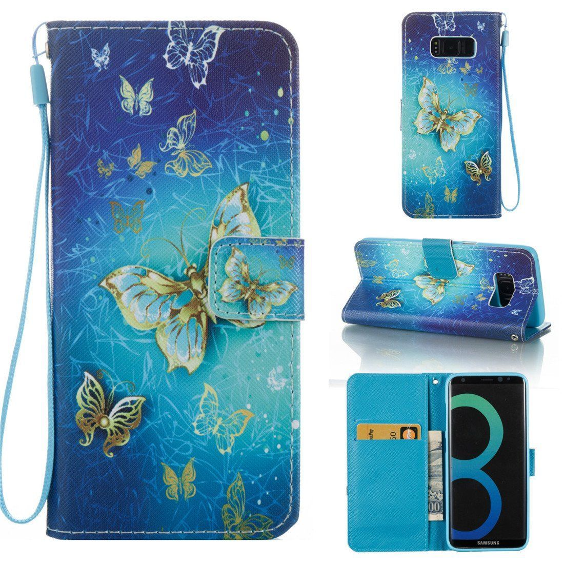Galaxy S8 Case, Love Sound [Gold Butterfly] [Wrist Strap] [Stand Function] Luxury PU Leather Wallet Case Flip Cover Built-in Card Slots for Samsung Galaxy S8 (2017). Note:This case is fit for Samsung Galaxy S8 (2017) [Not fit for Samsung Galaxy S8 Plus],