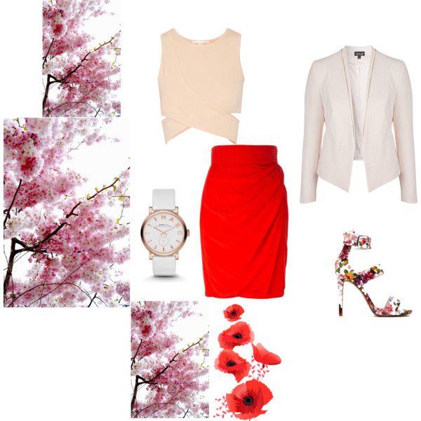#red #fantasy #florals #feeling #floralprint #springsummer2015 #inspiration #double #collar #blazer #draped #pencil #skirt #cropped #top