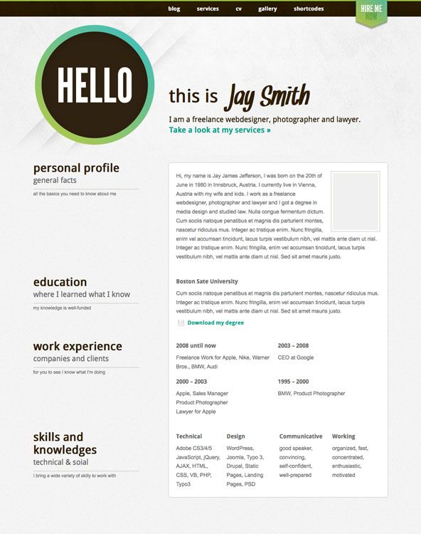 Resume Cv Template Top 6 WordPress Resume  Cv Templates  WordPress  Pinterest