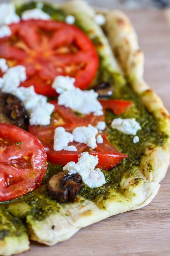 Grilled Pesto and Goat Cheese Pizza. I want this...now-ish.