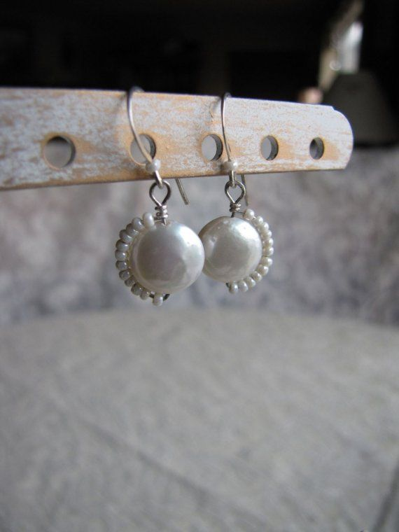 ❥ SOLD~ Moonbeams~ Creamy white coin pearl earrings wrapped with tiny little seed bead pearls