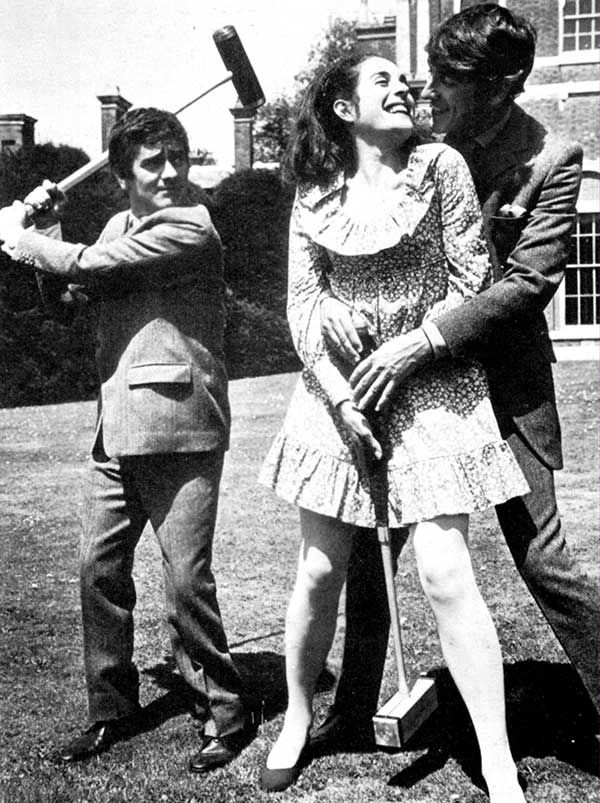 Dudley Moore, Eleanor Bron and Peter Cook playing croquet. .