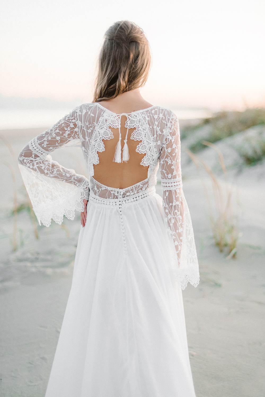 Mabel Bohemian Backless Long Sleeve Lace Wedding Dress