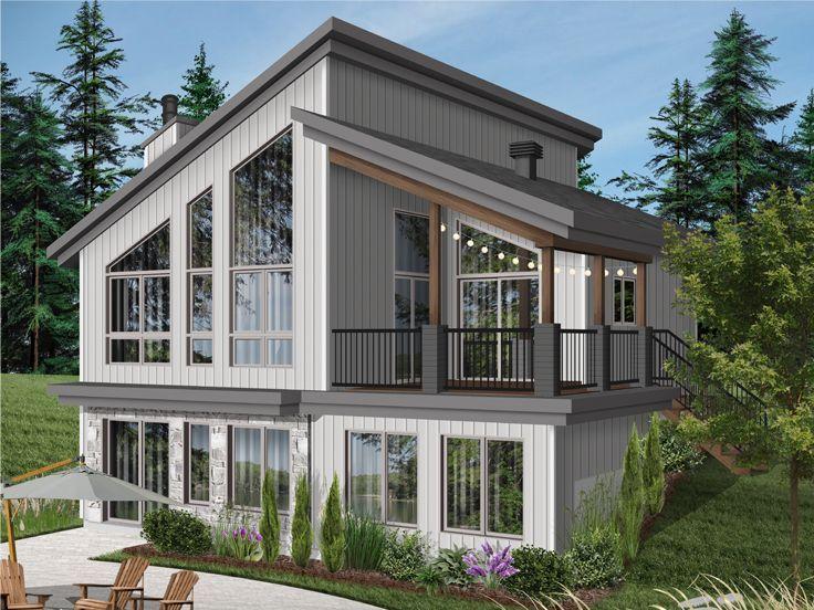 027H-0505: Mountain House Plan Fits a Narrow Lot | Lake ...