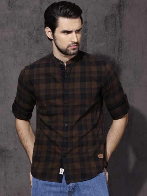 e9db9ac6a Buy Roadster Men Brown & Black Slim Fit Checked Casual Shirt - Shirts for  Men 2164373   Myntra