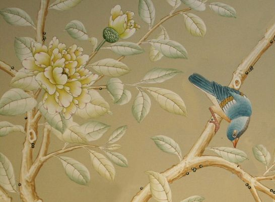 Wallpaper With Birds chinoiserie wallpaper with birds | hand painted wallpaper