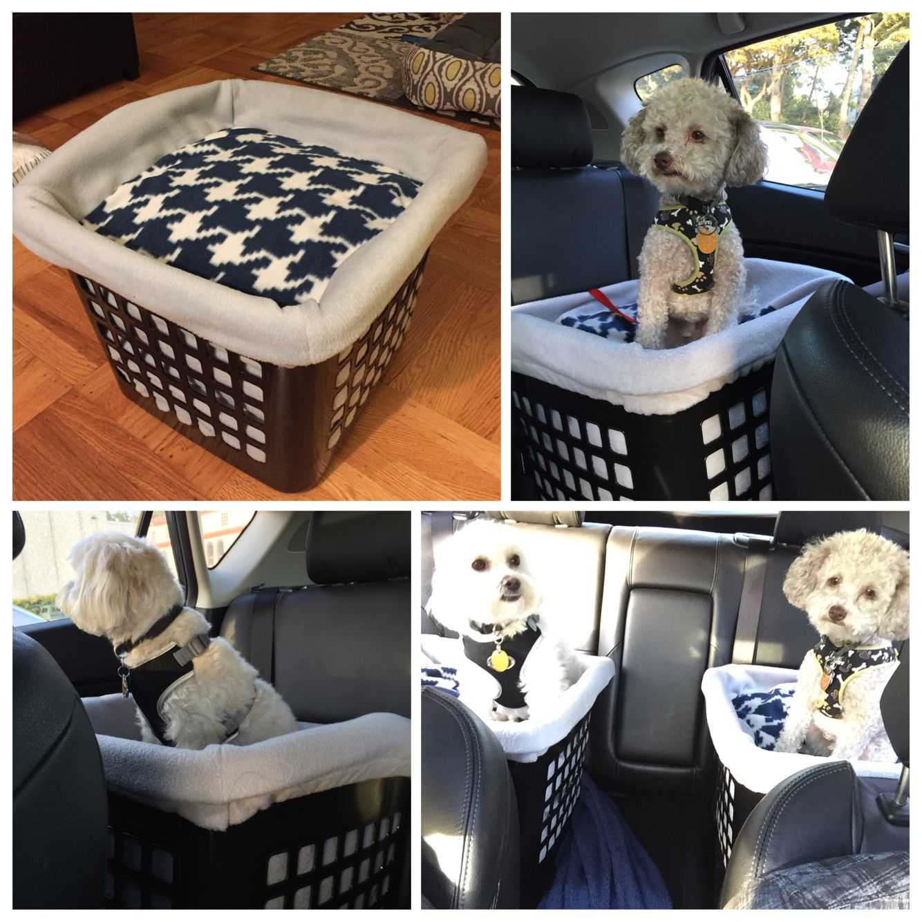 DIY Dog Booster Seat For The Car Cut Out Two Bigger Holes In Back Belt To Go Through And Tie A Leash Top