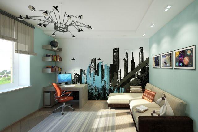 wandgestaltung jugendzimmer junge aqua wandfarbe deko city