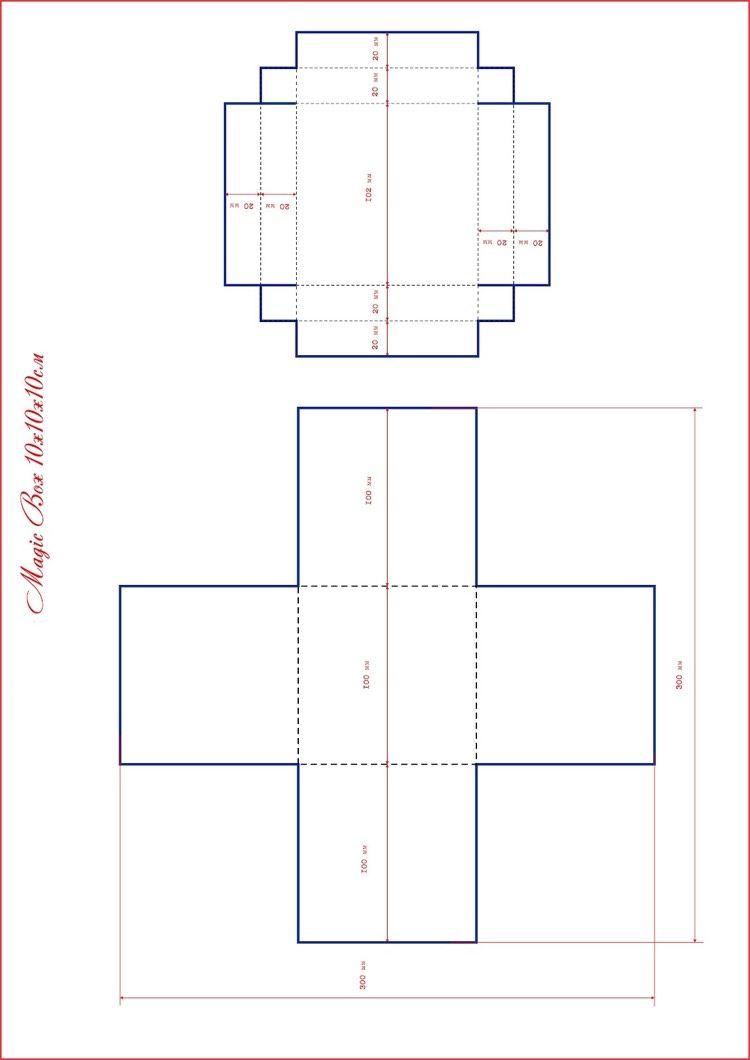 Vorlage für Überraschungsbox 10 x 10 x 10 cm | Bastelideen ...