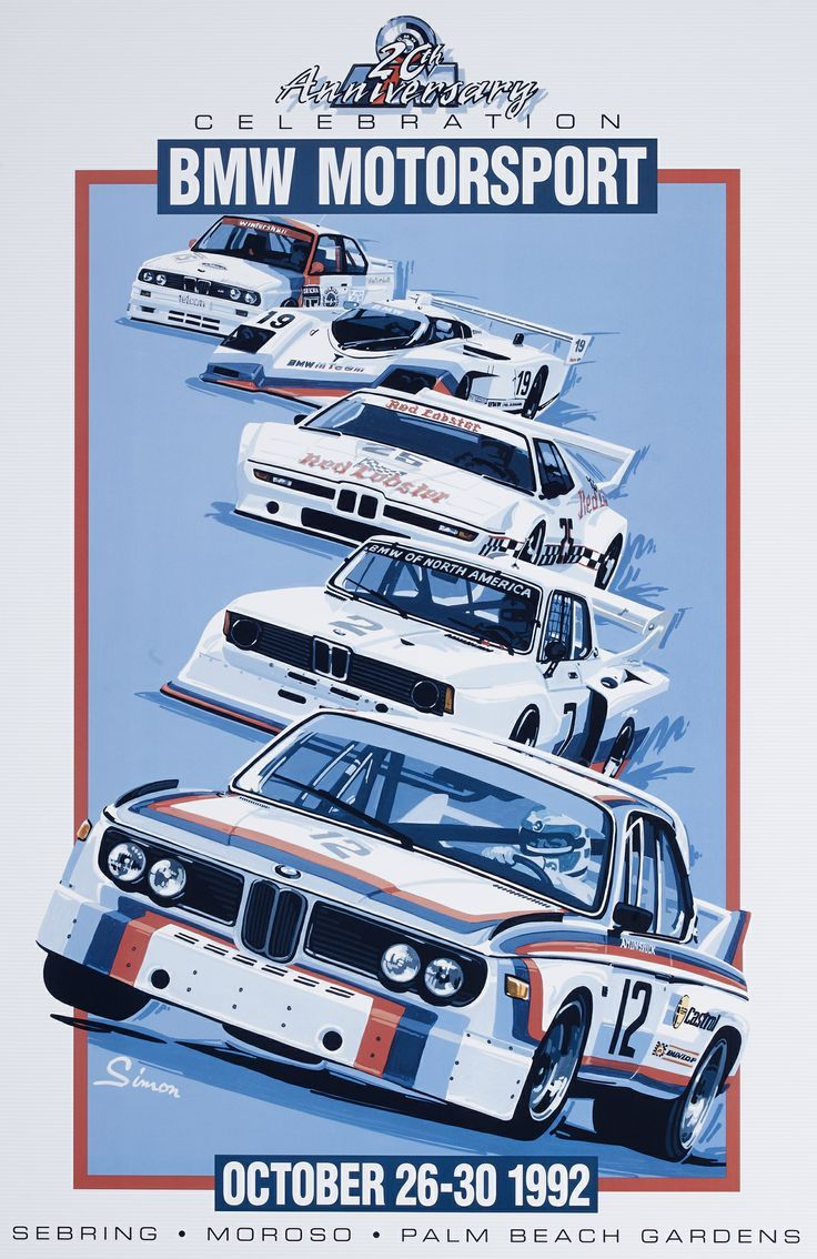 Bmw motorsport vintage style poster by dennis simon i actually have this poster hanging in my garage