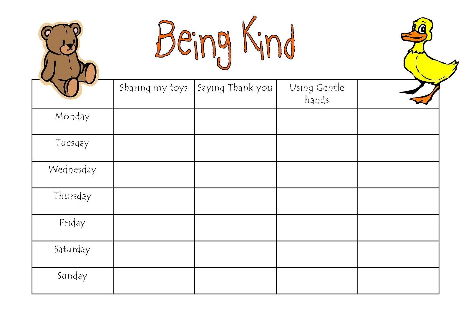 Preschool Being Kind Reward Chart