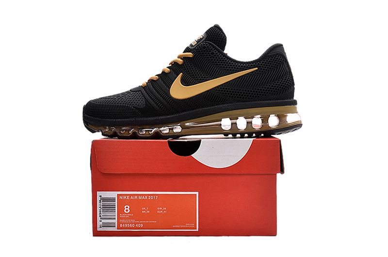 new product dd0ca 48060 new style Nike Air Max 2017 Men Shoes Black Yellow Gold