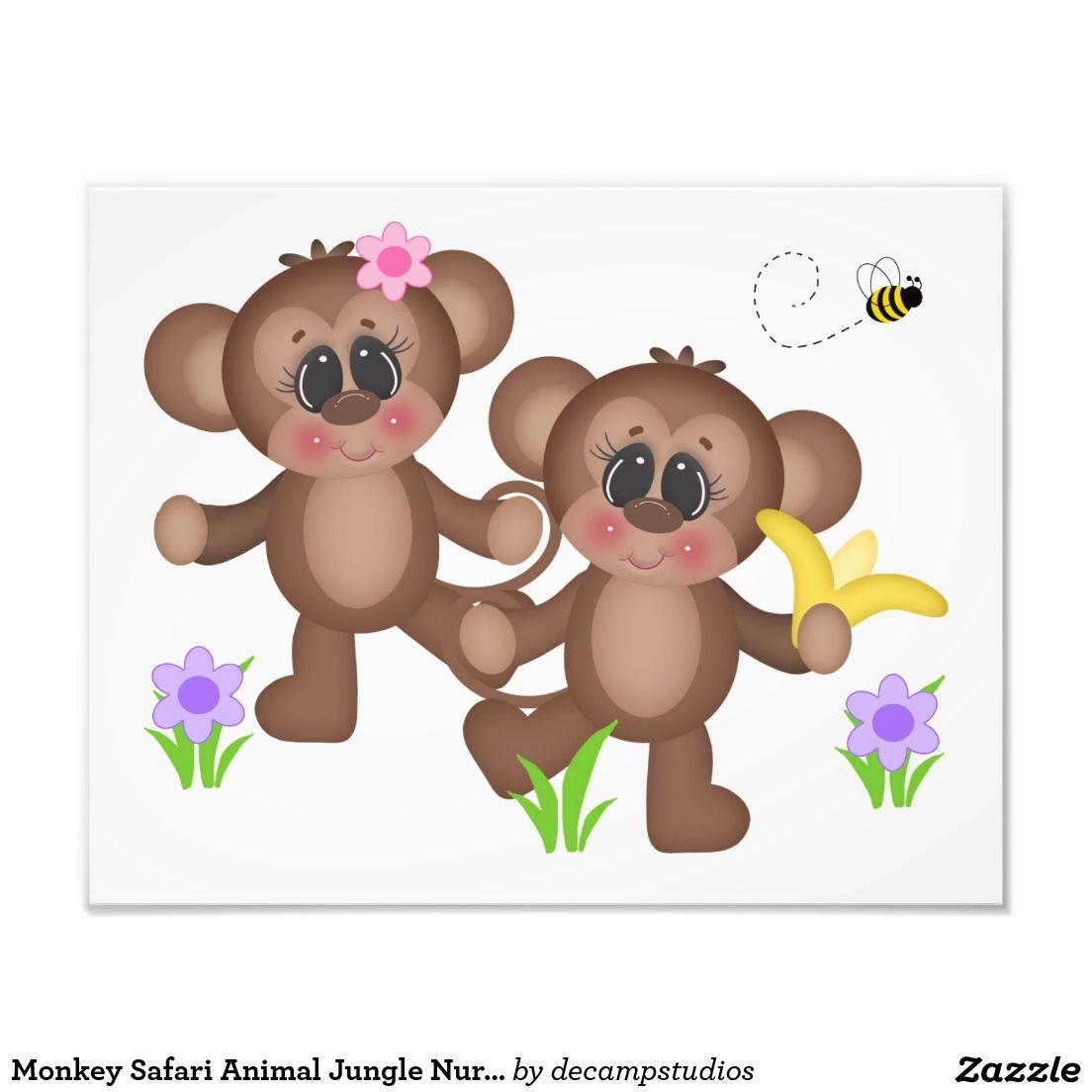 Monkey Safari Animal Jungle Nursery Wall Art Print
