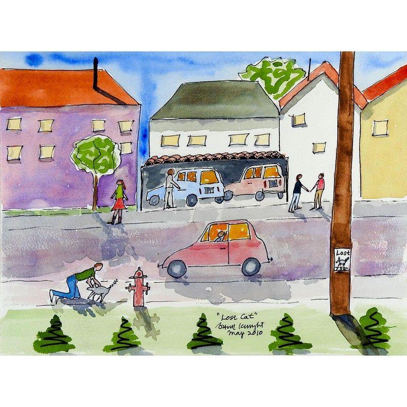 Busy Neighborhood Watercolor Painting In 2021 Painting Watercolor Paintings Watercolor