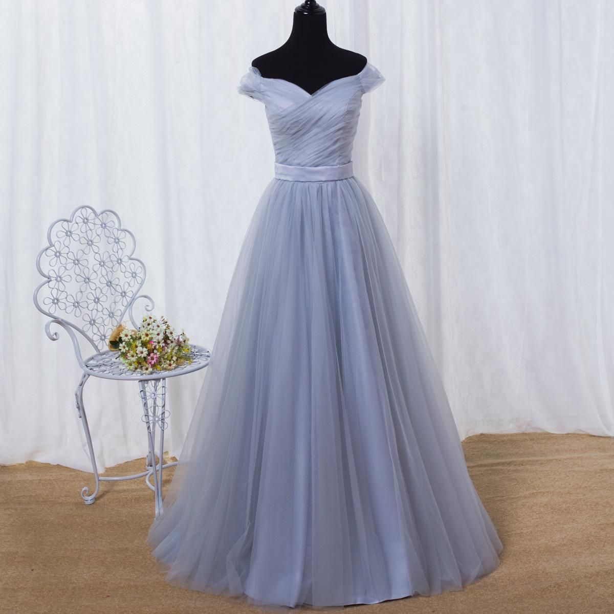 Smoky Gray Bridesmaid Dresses Off Shoulder Lace-up Back Pleats Tulle ...