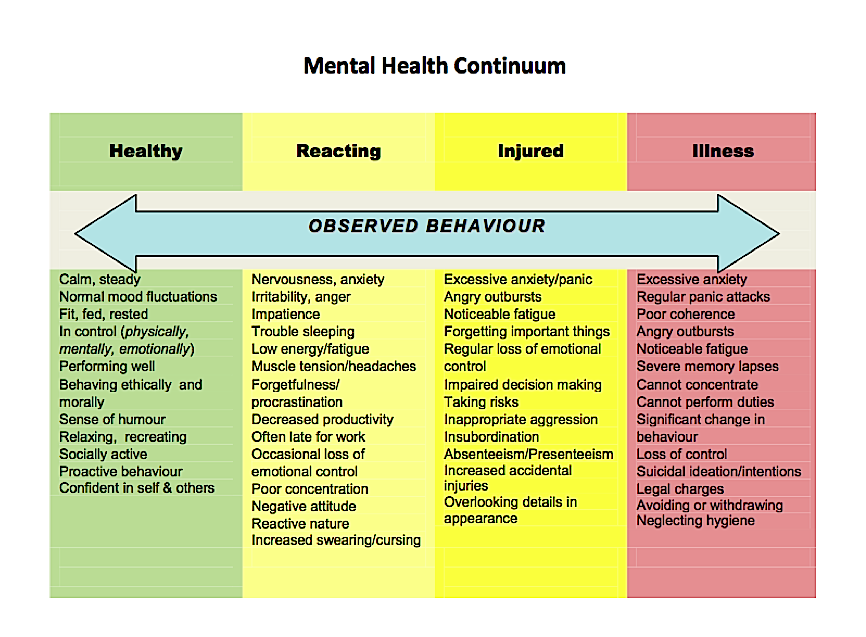 Observed behaviors on the mental health continuum mental