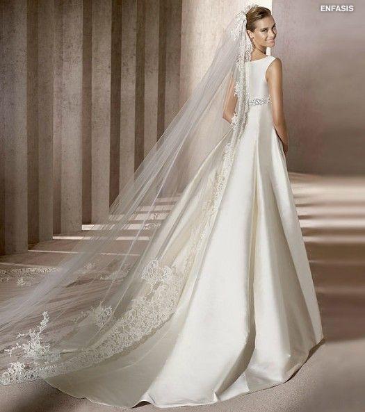 2012 Bateau Neckline Wedding Dress with Embroidery Sweep/ Brush length Satin Shape-EB-17860086-US$188