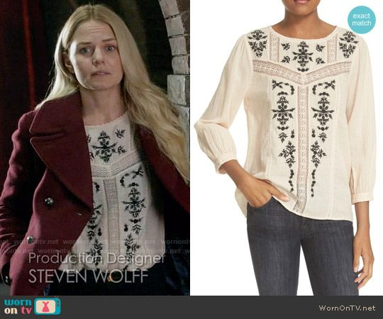 Emma's off-white embroidered top on Once Upon a Time.  Outfit Details: https://wornontv.net/62031/ #OUAT