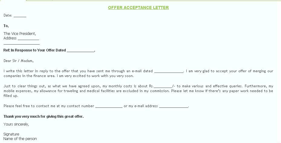 The Offer Acceptance letter is made to inform that you are - thank you email after job offer