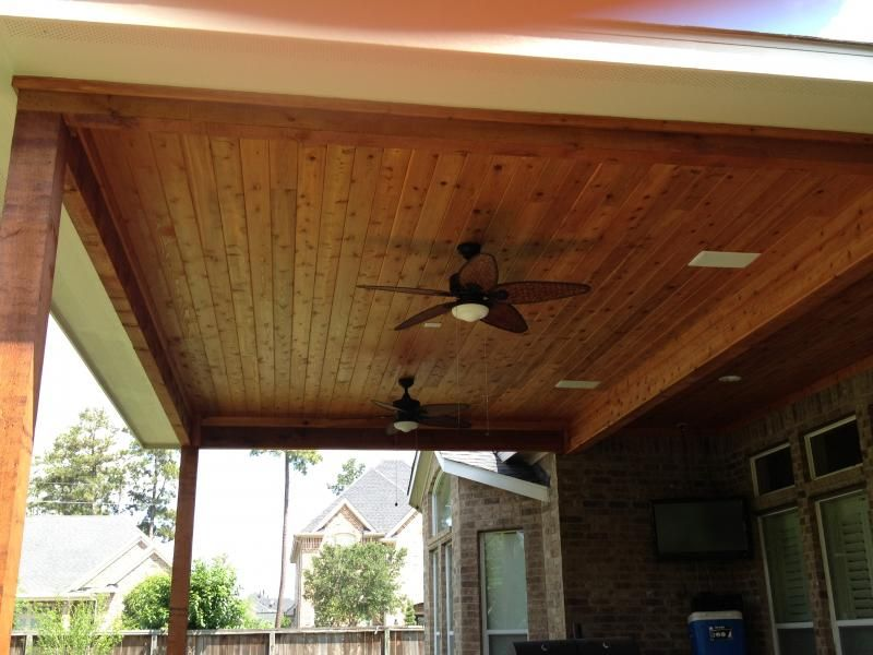 Stained Beadboard Ceiling Perfect Design Patios Accessories Porch Fan Patio