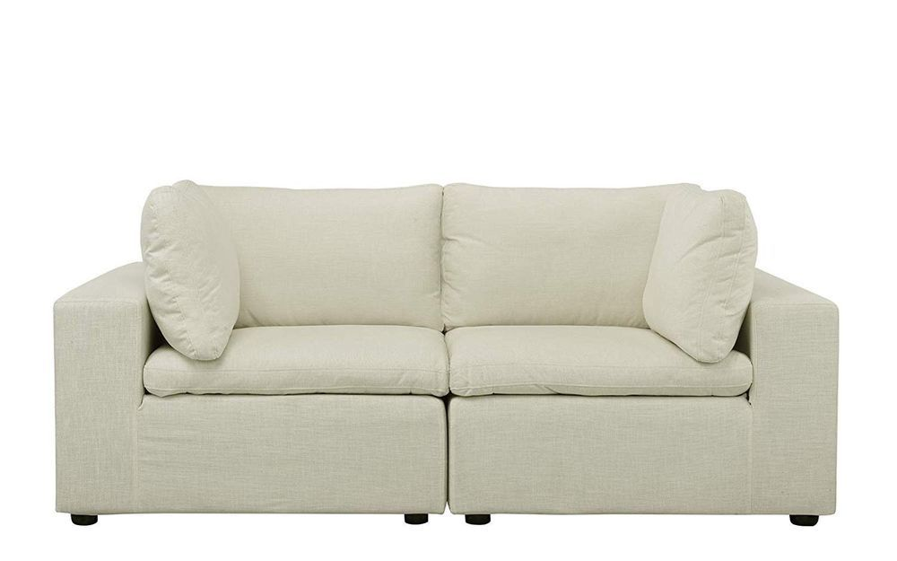 Classic Living Room Linen Fabric Loveseat Sofa Modern Low Frame