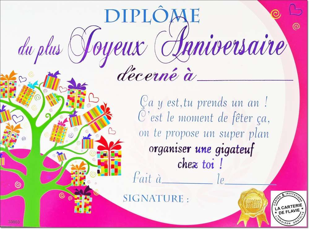 Diplome Anniversaire | Anniversaire | Invitation anniversaire gratuite, Carte invitation ...