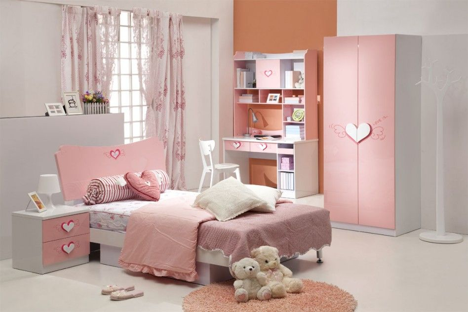 Cute Pastel Pink Girl Bedroom Color Scheme With Love Furniture Design And Lovely Laced Sheer Curtain Ideas Design