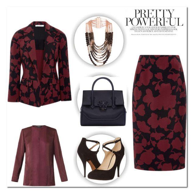 """Oscar de la Renta Floral Suit"" by amdavis1218 on Polyvore featuring Oscar de la Renta, Lanvin, Rosantica, Nine West and Versace"