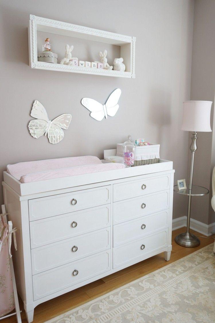 babyzimmer grau weiß mädchen graue wand weiße möbel schmetterlinge ...