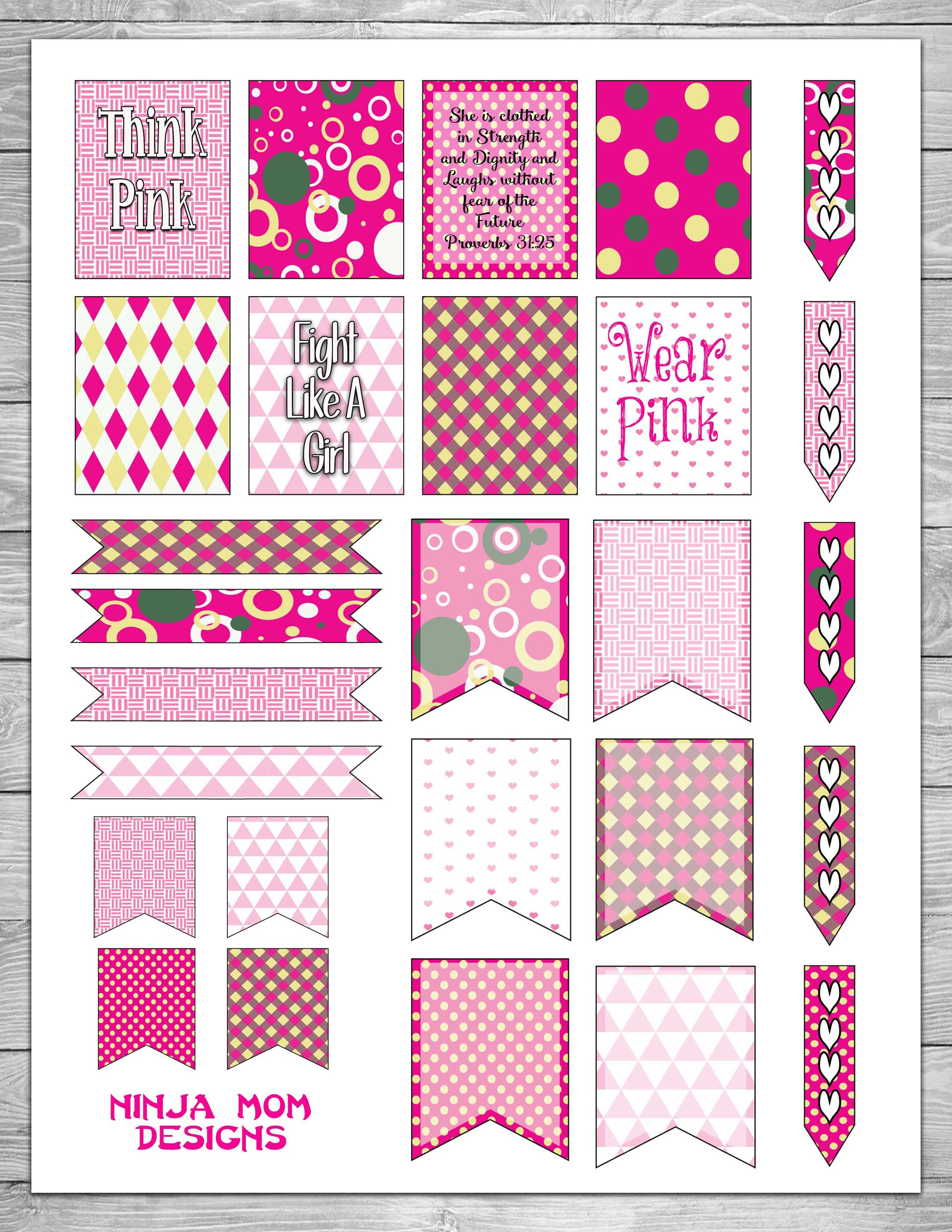 free breast cancer awareness planner stickers planners and printables pinterest filofax. Black Bedroom Furniture Sets. Home Design Ideas