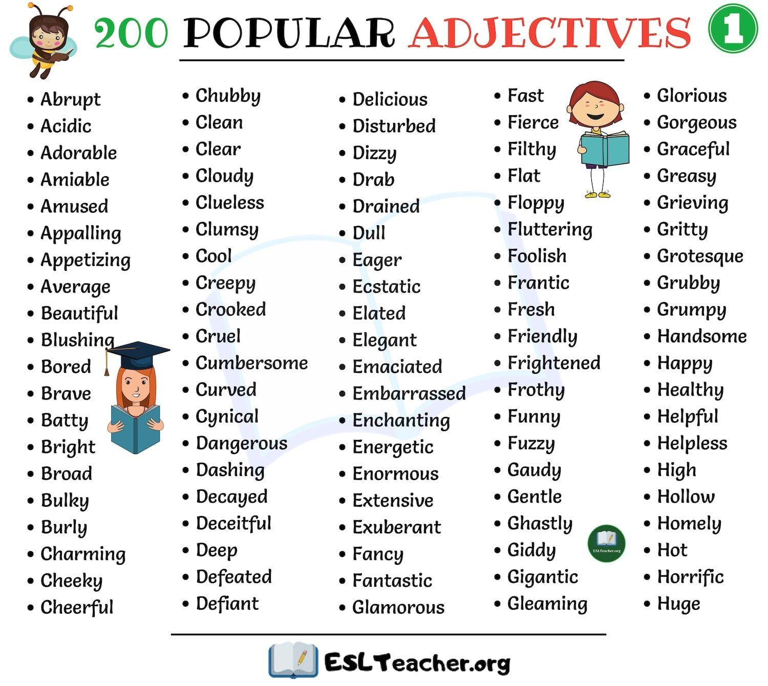 List Of Adjectives 200 Popular Adjectives In English With Images