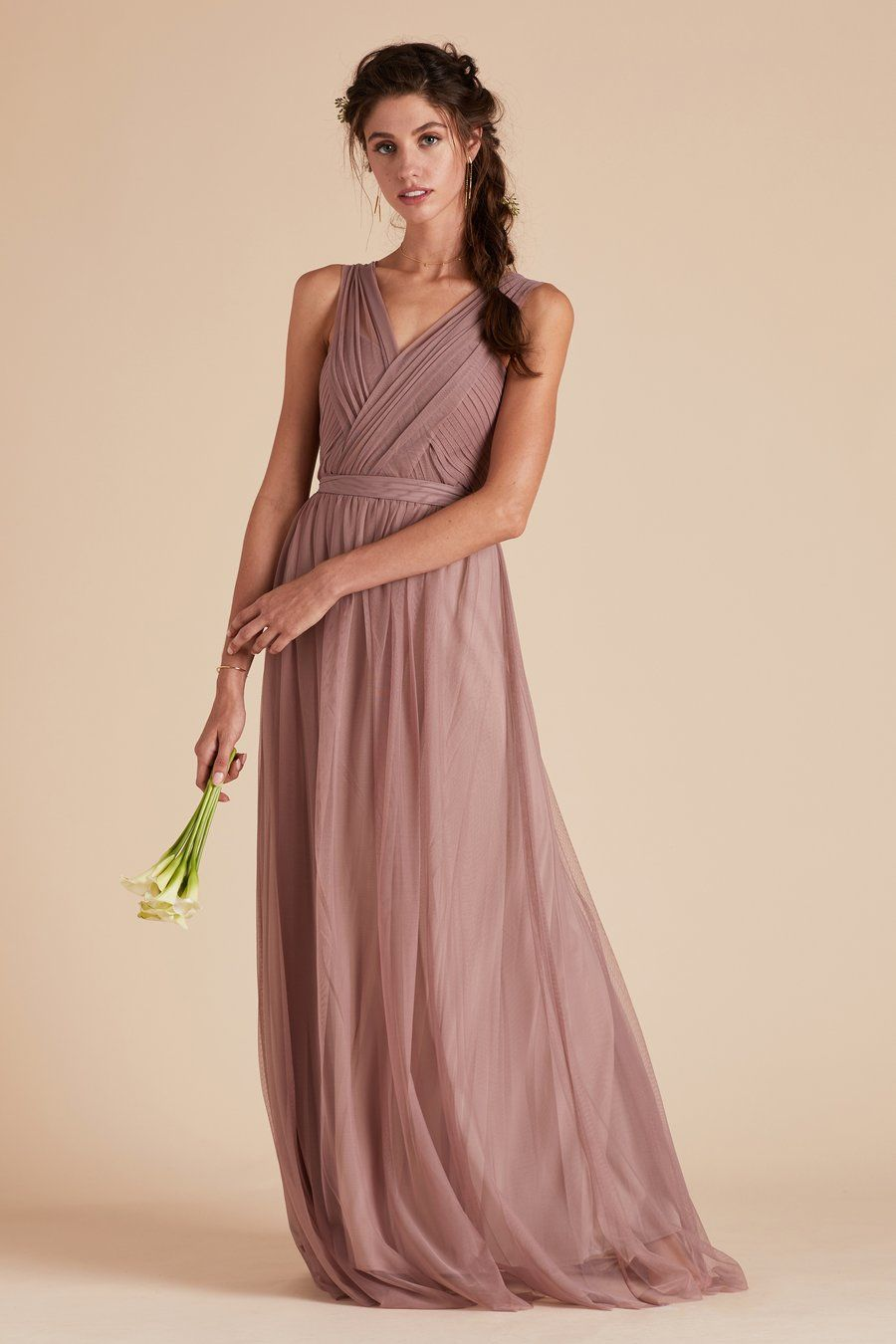 Cece wedding dress  Cece Convertible Tulle Bridesmaid Dress in Mauve V neck strap by
