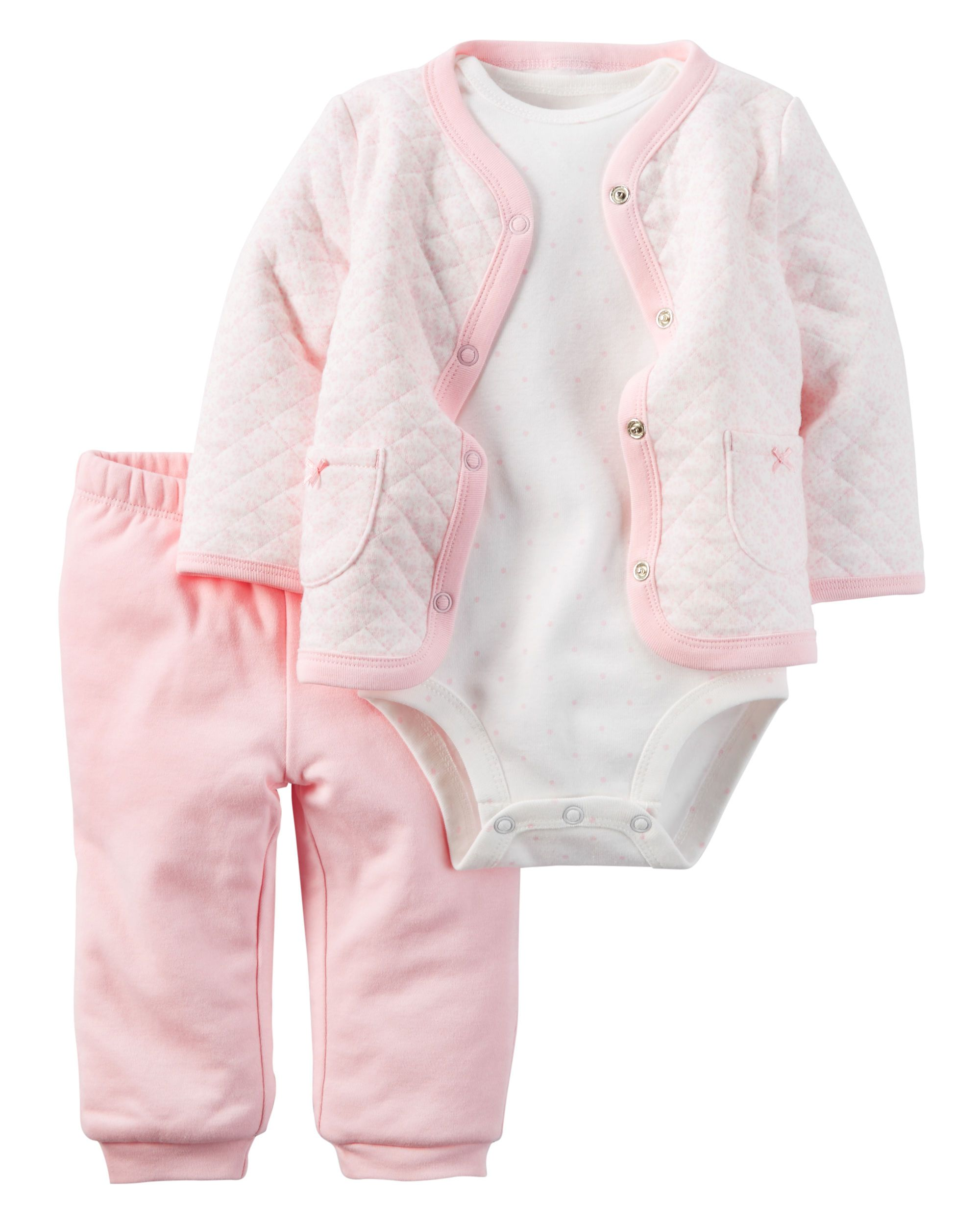 df74af380235 Baby Girl 3-Piece Babysoft Cardigan Set
