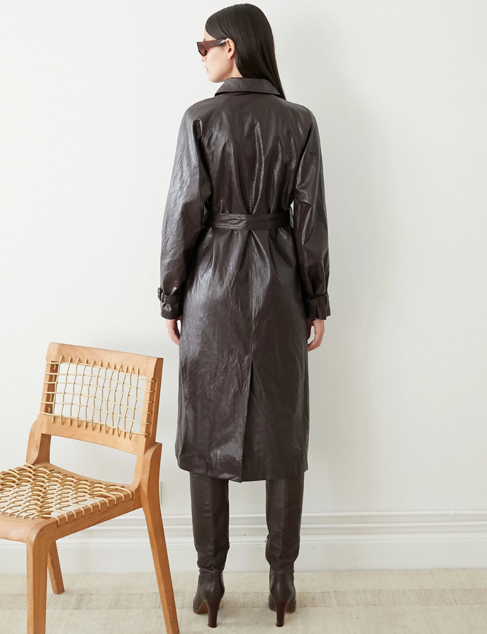 Crackled Leather Trench Leather trench coat, Leather, Trench
