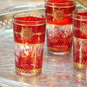 6 Orientalische Teeglaser Tisu Rot Gold Amazon De Kuche Haushalt