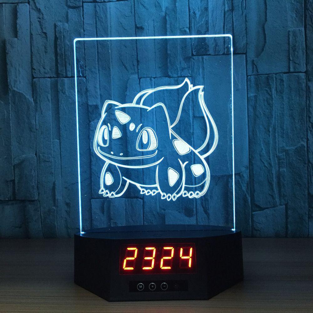 Pokemon Bulbasaur 3d Lamp With Digital Clock The World Of Pokemon Go 3d Lamp Pokemon Bulbasaur Childrens Lamps
