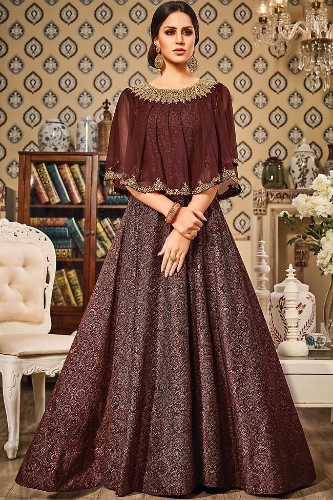 859d4d9e4580 Buy Chocolate Brown Silk Gown Style Floor Length Suit Online at indi.fashion