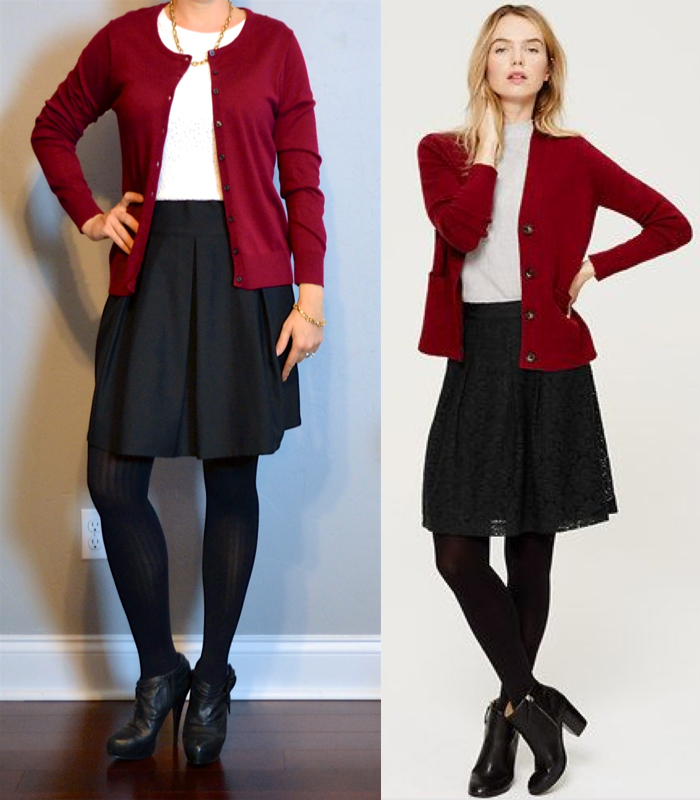 outfit post: burgundy cardigan, white lace shirt, black a-line ...