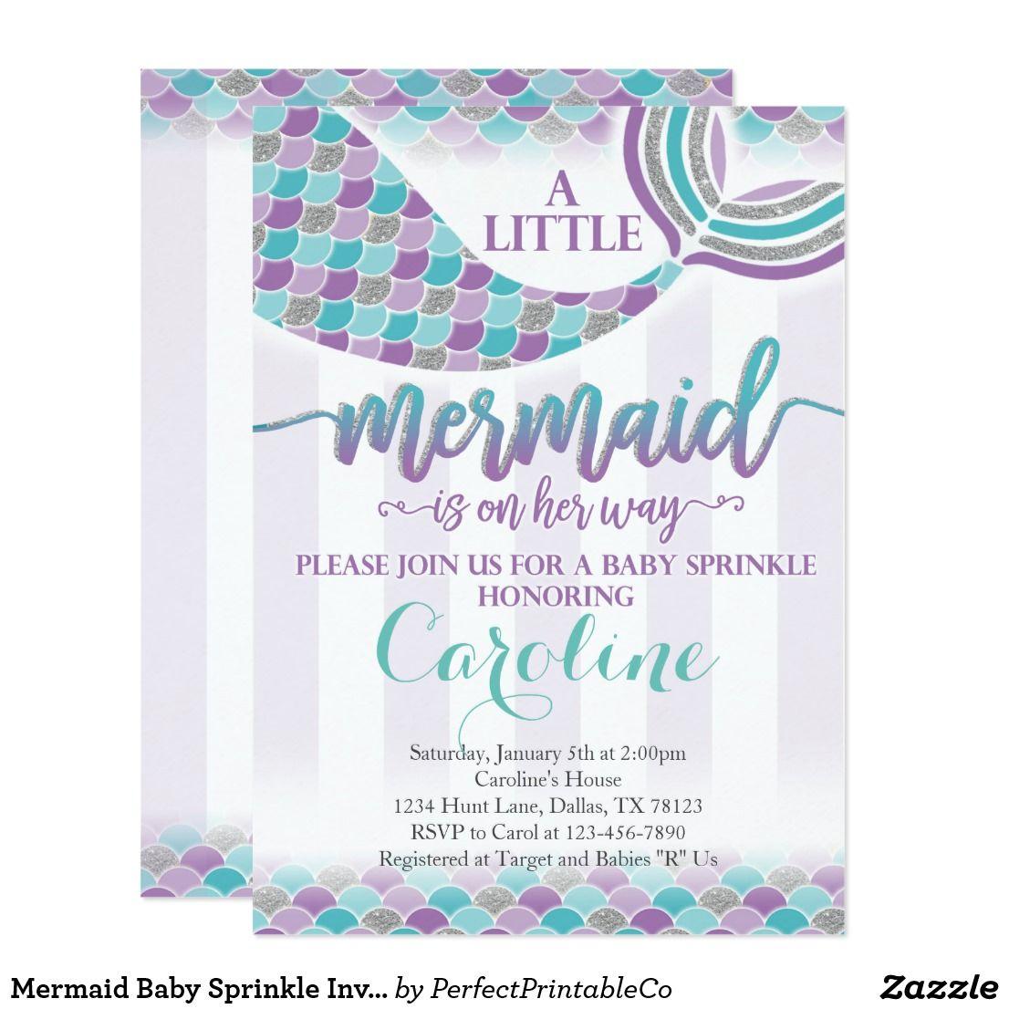 Mermaid Baby Sprinkle Invitation Purple Teal | Invitations and Party ...