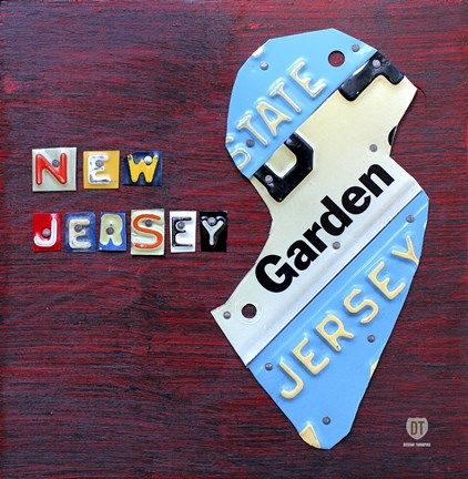 Framed New Jersey License Plate Map Print