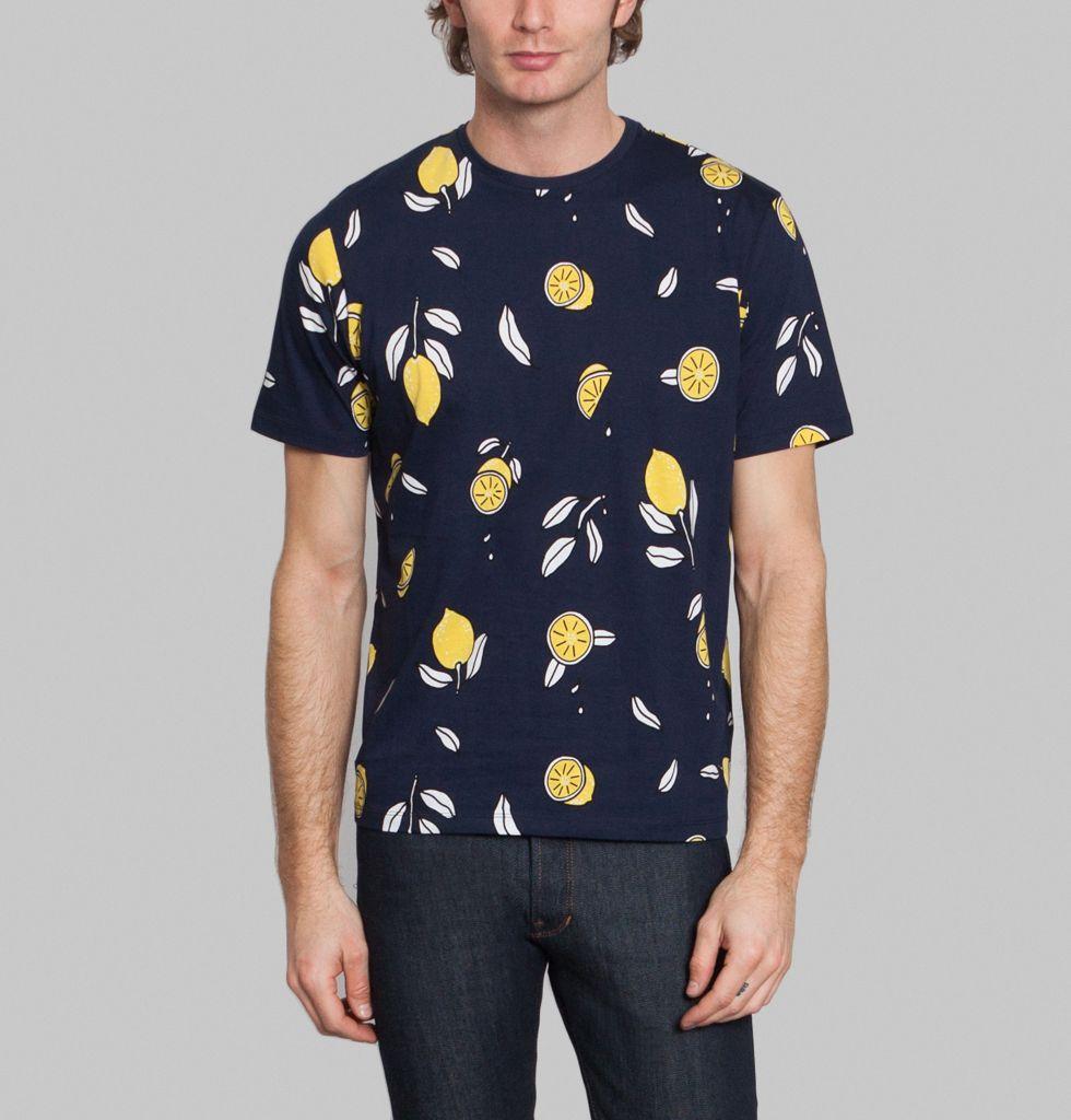 T Shirt Imprimé Citron AMI Alexandre Mattiussi Bleu Marine L'Exception