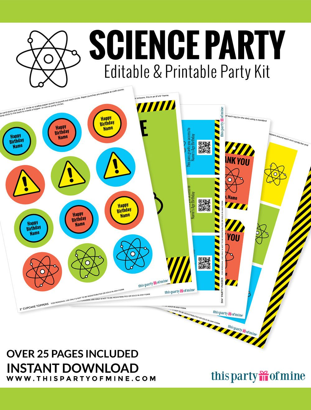 Science Party - Invitation & Decorations Kit - Printable Mad ...