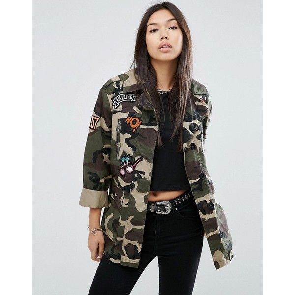 ASOS Camo Jacket With Badges (970 MXN) ❤ liked on Polyvore featuring outerwear, jackets, multi, embroidered jacket, oversized jacket, camoflage jacket, asos and cotton jacket