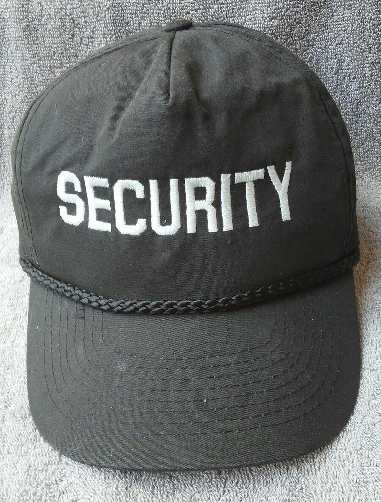 65f6d612d9bd96 Security Officers Hat Cap Vintage Strapback Black White Security Gaurd Cap   na  TruckerHat