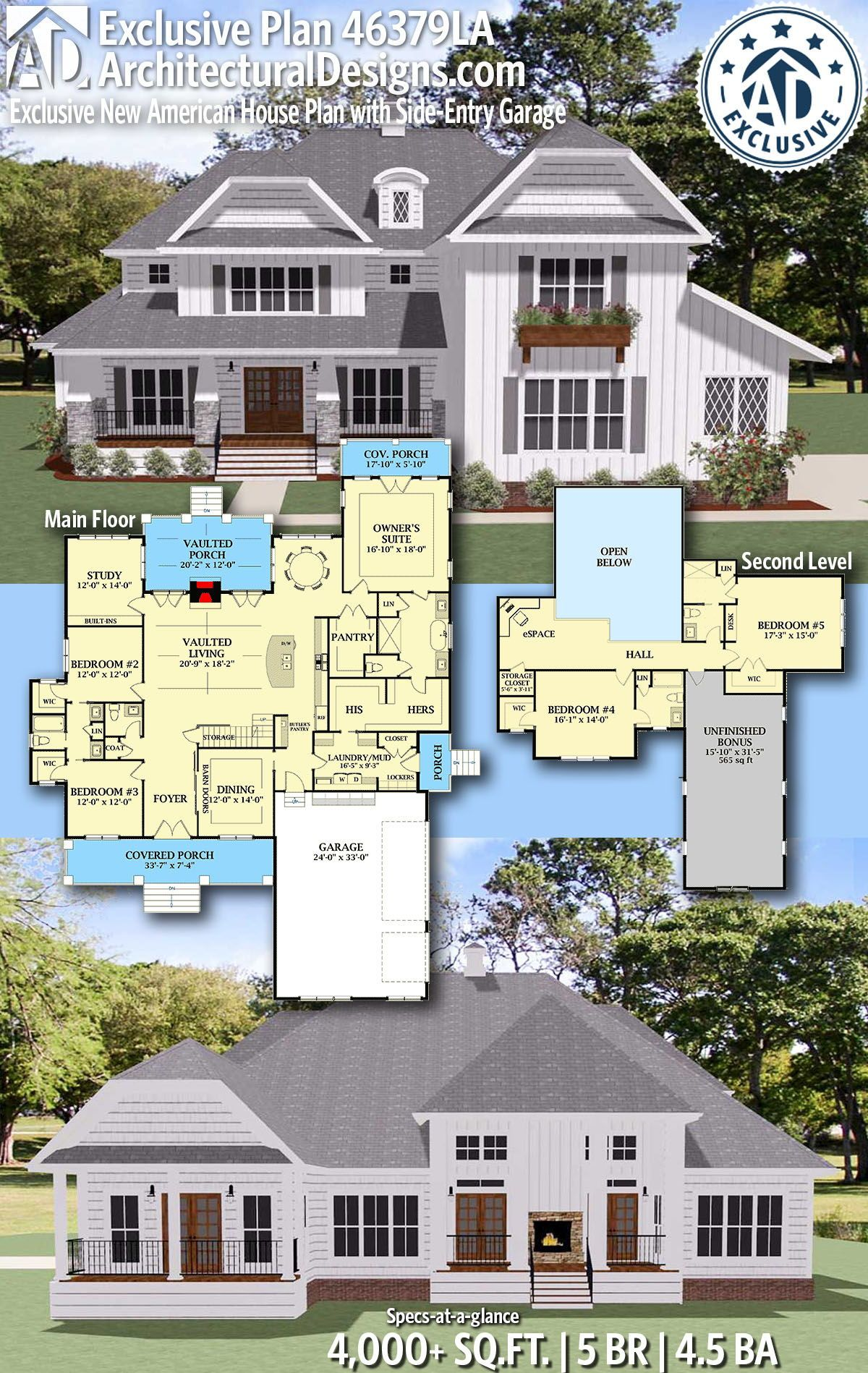 Plan 46379la Exclusive New American House Plan With Side Entry Garage American Houses House Blueprints House Plans