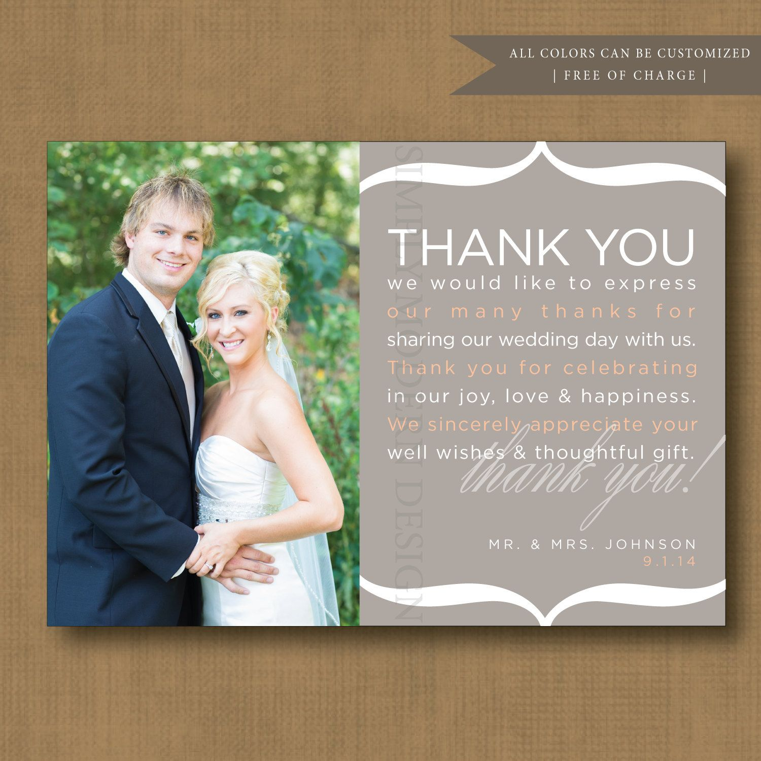 rustic wedding thank you note, wedding thank you card