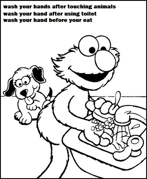elmo sesame street hand washing coloring pages for children | the ...