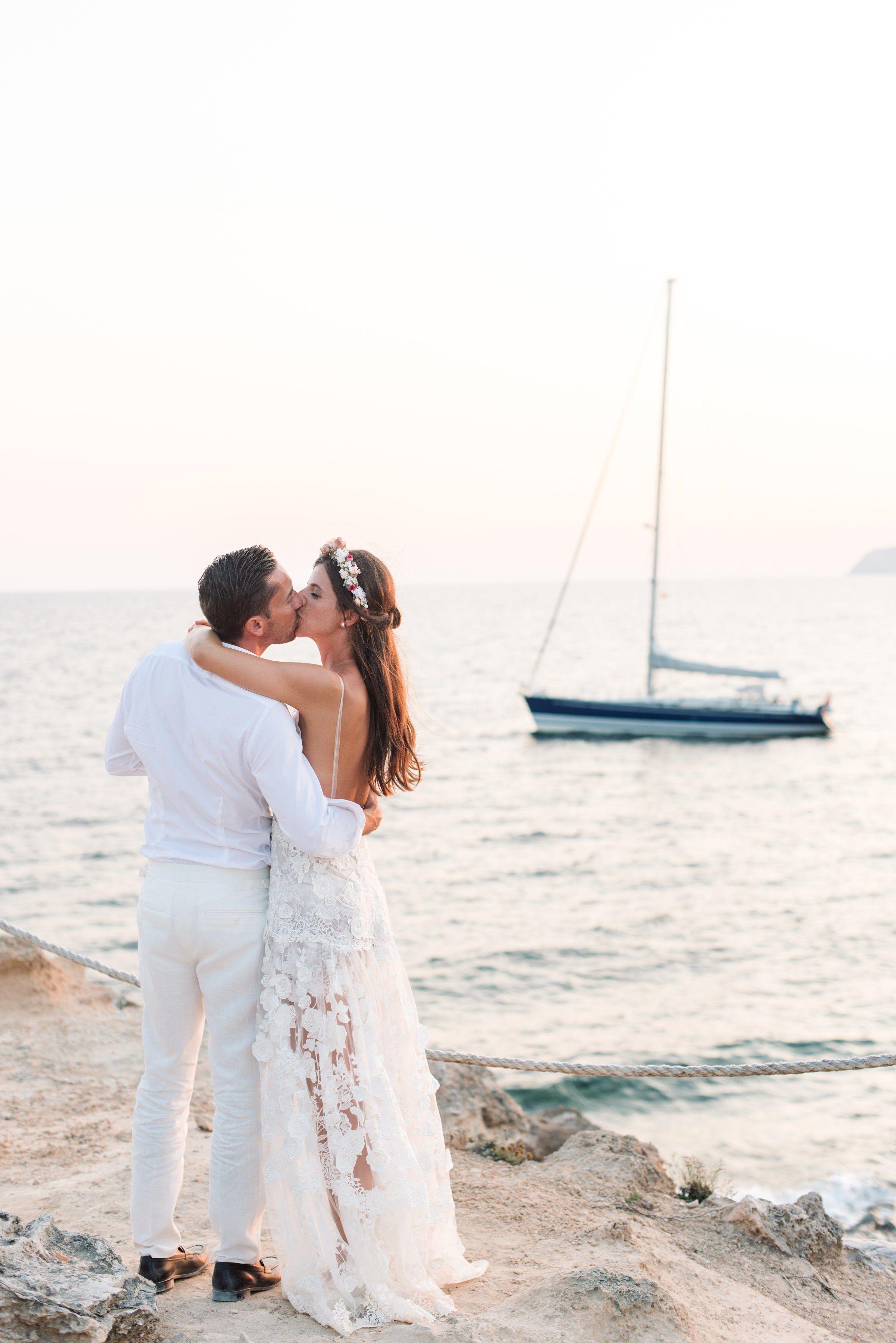 Beach wedding looks for bride  A LaidBack Beach Wedding in Ibiza  Ibiza Bride groom photos and